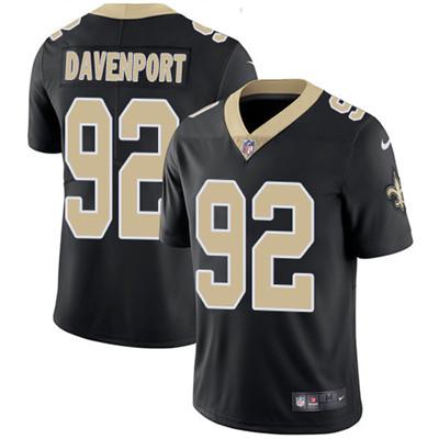Nike New Orleans Saints #92 Marcus Davenport Black Team Color Men's Stitched NFL Vapor Untouchable Limited Jersey