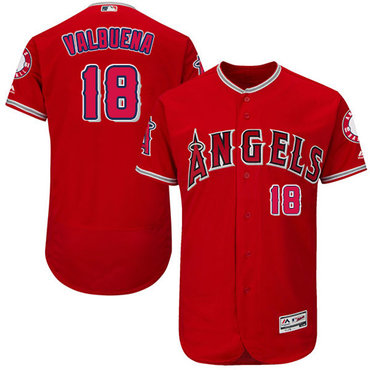 LA Angels of Anaheim #18 Luis Valbuena Red Flexbase Authentic Collection Stitched Baseball Jersey