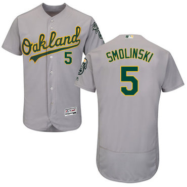 Oakland Athletics #5 Jake Smolinski Grey Flexbase Authentic Collection Stitched Baseball Jersey