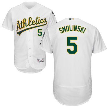 Oakland Athletics #5 Jake Smolinski White Flexbase Authentic Collection Stitched Baseball Jersey