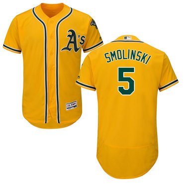 Oakland Athletics #5 Jake Smolinski Gold Flexbase Authentic Collection Stitched Baseball Jersey