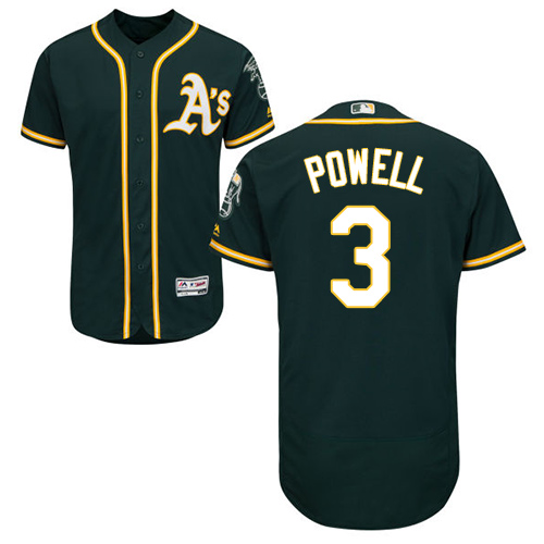Oakland Athletics #3 Boog Powell Green Flexbase Authentic Collection Stitched Baseball Jersey