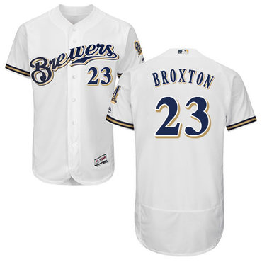 Milwaukee Brewers #23 Keon Broxton White Flexbase Authentic Collection Stitched Baseball Jersey