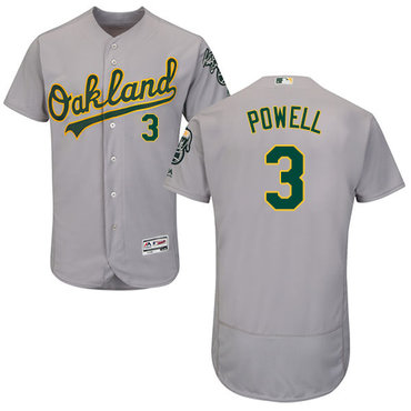 Oakland Athletics #3 Boog Powell Grey Flexbase Authentic Collection Stitched Baseball Jersey