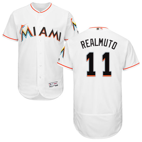 Miami marlins #11 JT Realmuto White Flexbase Authentic Collection Stitched Baseball Jersey