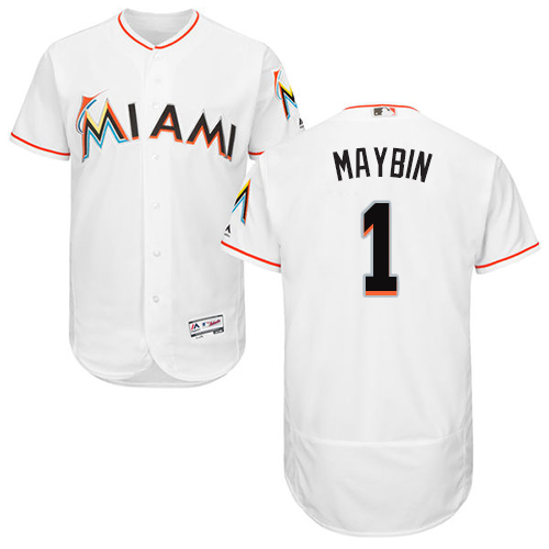 Miami marlins #1 Cameron Maybin White Flexbase Authentic Collection Stitched Baseball Jersey