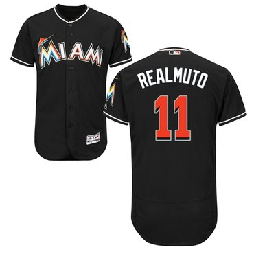 Miami marlins #11 JT Realmuto Black Flexbase Authentic Collection Stitched Baseball Jersey