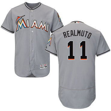 Miami marlins #11 JT Realmuto Grey Flexbase Authentic Collection Stitched Baseball Jersey