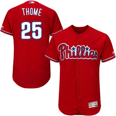 Philadelphia Phillies #25 Jim Thome Red Flexbase Authentic Collection Stitched Baseball Jersey