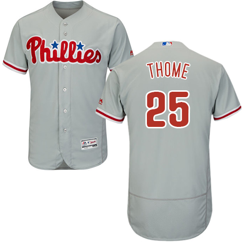 Philadelphia Phillies #25 Jim Thome Grey Flexbase Authentic Collection Stitched Baseball Jersey