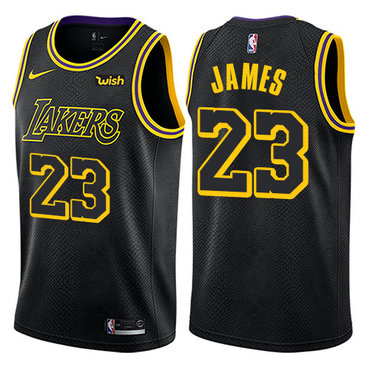 Nike Los Angeles Lakers #23 LeBron James Black NBA Swingman City Edition Jersey