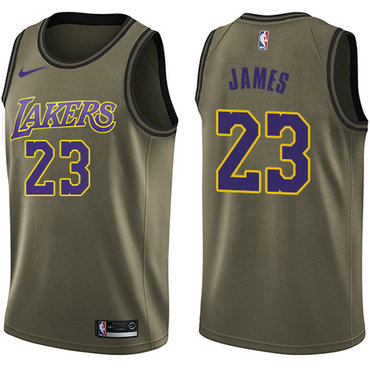 Nike Los Angeles Lakers #23 LeBron James Green NBA Swingman Salute to Service Jersey