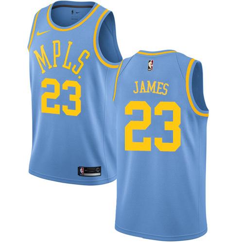Nike Los Angeles Lakers #23 LeBron James Royal Blue NBA Swingman Hardwood Classics Jersey