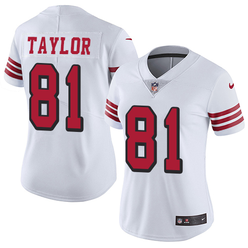 Women's Nike San Francisco 49ers #81 Trent Taylor White Rush Stitched NFL Vapor Untouchable Limited Jersey