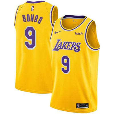 Nike Los Angeles Lakers #9 Rajon Rondo Gold NBA Swingman Icon Edition Jersey