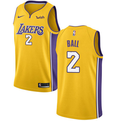 Nike Los Angeles Lakers #2 Lonzo Ball Gold NBA Swingman Icon Edition Jersey
