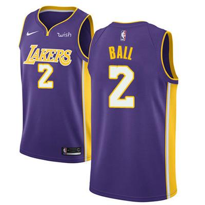 Nike Los Angeles Lakers #2 Lonzo Ball Purple NBA Swingman Statement Edition Jersey
