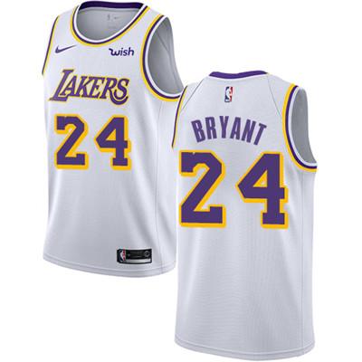 Nike Los Angeles Lakers #24 Kobe Bryant White NBA Swingman Association Edition Jersey