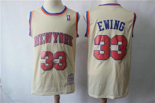New York Knicks #33 Patrick Ewing Cream Throwback Jersey