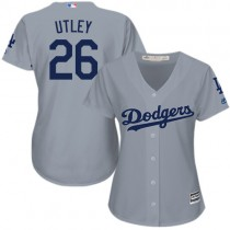 Womens Majestic Los Angeles Dodgers #26 Chase Utley Replica Gray Road Cool Base Mlb Jersey