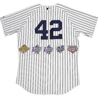 Men's New York Yankees #42 Mariano Rivera White Strip Five Times World Series Champion Stitched MLB Jersey