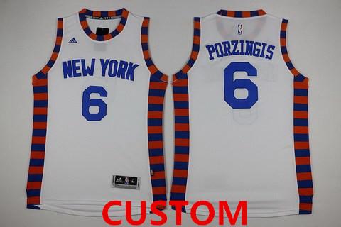Men's New York Knicks Custom Revolution 30 Swingman 2015-16 White Jersey
