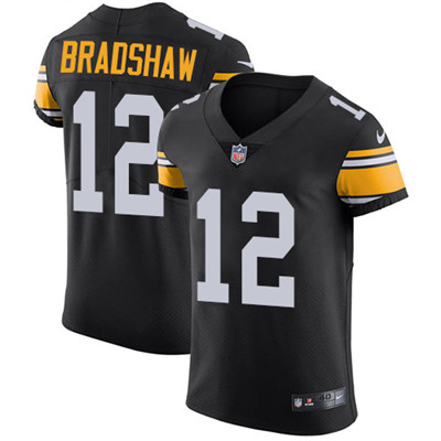 Nike Steelers #12 Terry Bradshaw Black Alternate Men's Stitched NFL Vapor Untouchable Elite Jersey