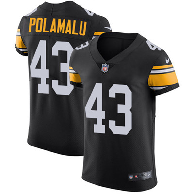 Nike Steelers #43 Troy Polamalu Black Alternate Men's Stitched NFL Vapor Untouchable Elite Jersey