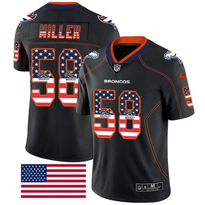 Nike Denver Broncos #58 Von Miller Black Men's Stitched NFL Limited Rush USA Flag Jersey
