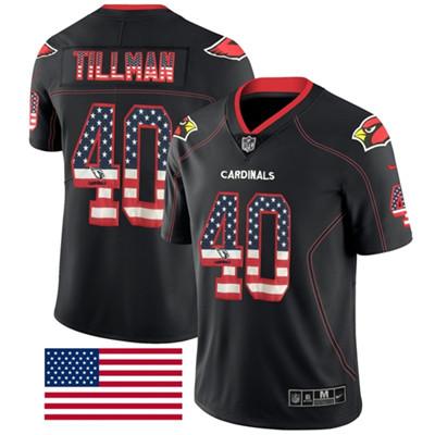 Nike Arizona Cardinals #40 Pat Tillman Black Men's Stitched NFL Limited Rush USA Flag Jersey