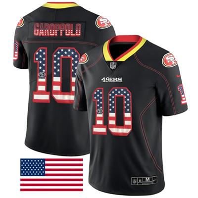 Nike San Francisco 49ers #10 Jimmy Garoppolo Black Men's Stitched NFL Limited Rush USA Flag Jersey
