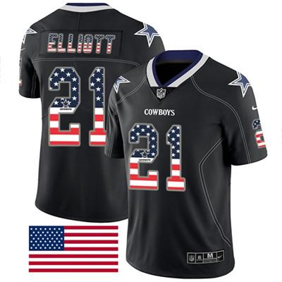 Nike Dallas Cowboys #21 Ezekiel Elliott Black Men's Stitched NFL Limited Rush USA Flag Jersey