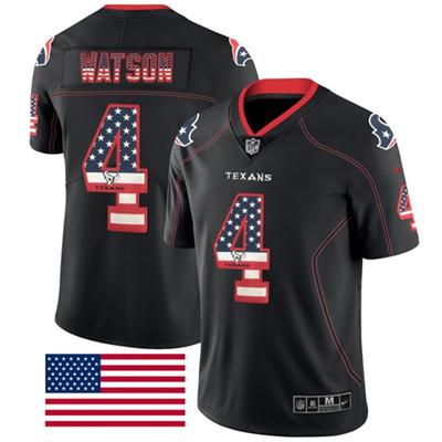 Nike Houston Texans #4 Deshaun Watson Black Men's Stitched NFL Limited Rush USA Flag Jersey