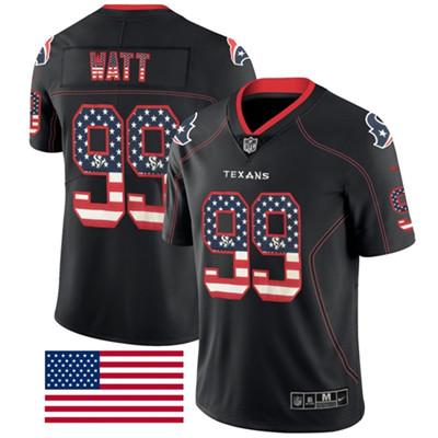 Nike Houston Texans #99 J.J. Watt Black Men's Stitched NFL Limited Rush USA Flag Jersey