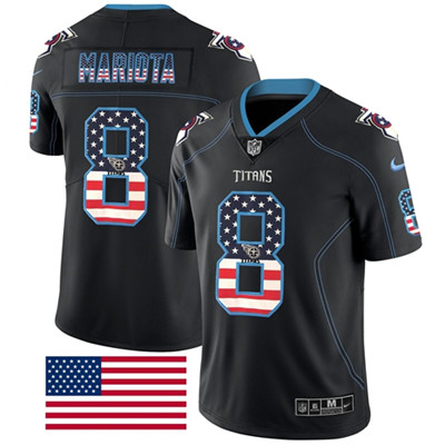 Nike Tennessee Titans #8 Marcus Mariota Black Men's Stitched NFL Limited Rush USA Flag Jersey