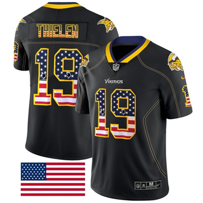 Nike Minnesota Vikings #19 Adam Thielen Black Men's Stitched NFL Limited Rush USA Flag Jersey