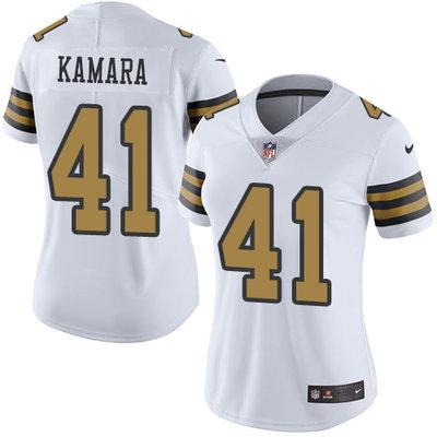 Women's Nike New Orleans Saints #41 Alvin Kamara White Stitched NFL Limited Rush Jersey