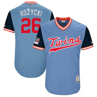 Men's Minnesota Twins 26 Max Kepler Rozycki Majestic Light Blue 2018 Players' Weekend Authentic Jersey