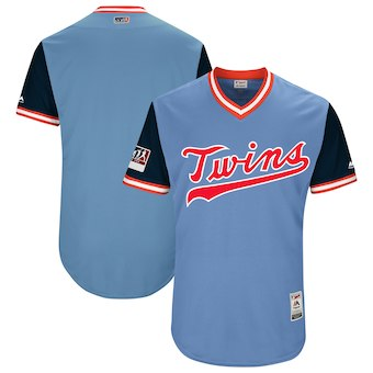 Men's Minnesota Twins Blank Majestic Light Blue 2018 Players' Weekend Authentic Team Jersey