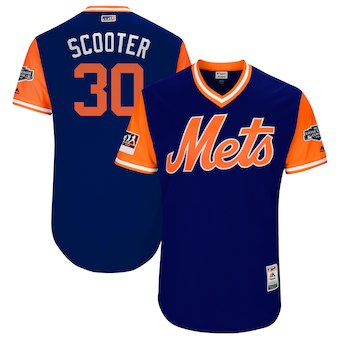 Men's New York Mets 30 Michael Conforto Scooter Majestic Royal 2018 MLB Little League Classic Authentic Jersey