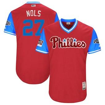 Men's Philadelphia Phillies 27 Aaron Nola Nols Majestic Scarlet 2018 MLB Little League Classic Authentic Jersey