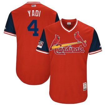 Men's St. Louis Cardinals #4 Yadier Molina Yadi Majestic Red 2018 Players' Weekend Authentic Jersey