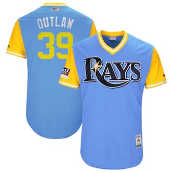 Men's Tampa Bay Rays 39 Kevin Kiermaier Outlaw Majestic Light Blue 2018 Players' Weekend Authentic Jersey