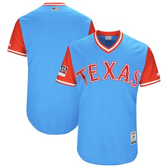 Men's Texas Rangers Majestic Light Blue 2018 Players' Weekend Authentic Team Jersey