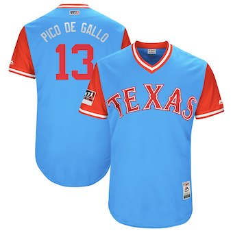 Men's Texas Rangers 13 Joey Gallo Pico de Gallo Majestic Light Blue 2018 Players' Weekend Authentic Jersey