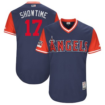 Men's Los Angeles Angels 17 Shohei Ohtani Showtime Majestic Navy 2018 Players' Weekend Authentic Jersey