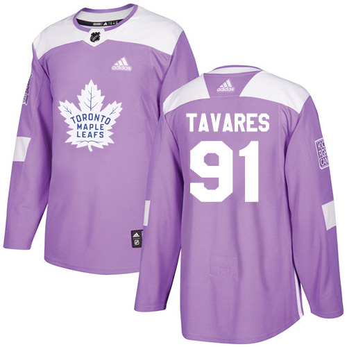 Adidas Toronto Maple Leafs #91 John Tavares Purple Authentic Fights Cancer Stitched NHL Jersey