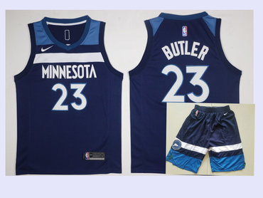 Men's Minnesota Timberwolves #23 Jimmy Butler New Navy Blue 2017-2018 Nike Swingman Stitched NBA Jersey With Shorts