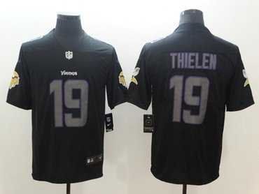 Nike Minnesota Vikings #19 Adam Thielen Black Men's Stitched NFL Limited Rush Impact Jersey