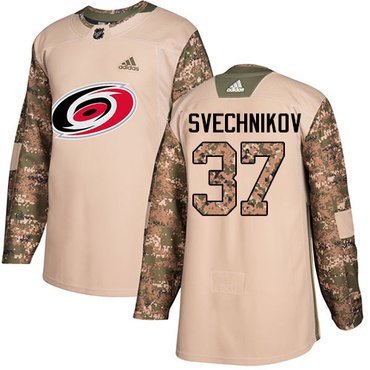 Adidas Carolina Hurricanes #37 Andrei Svechnikov Camo Authentic 2017 Veterans Day Stitched NHL Jersey